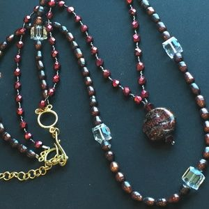 Jewelry - Wine Colored Double Stranded Necklace
